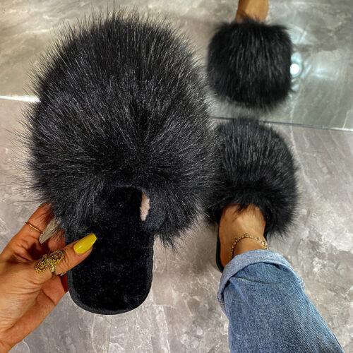 Women Flat Faux Fur Fluffy Slippers Sliders Ladies Comfy Sandals Flip Flop Shoes
