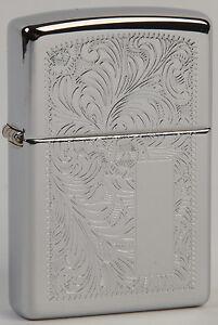 Pequeño Zippo lighter slim Venetian engraved on both sides high polish chrome