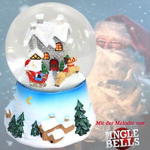 SCHNEEKUGEL Jingle Bells 15 cm Snowglobe Spieluhr Weihnachtsmelodie ~vv 801 0243