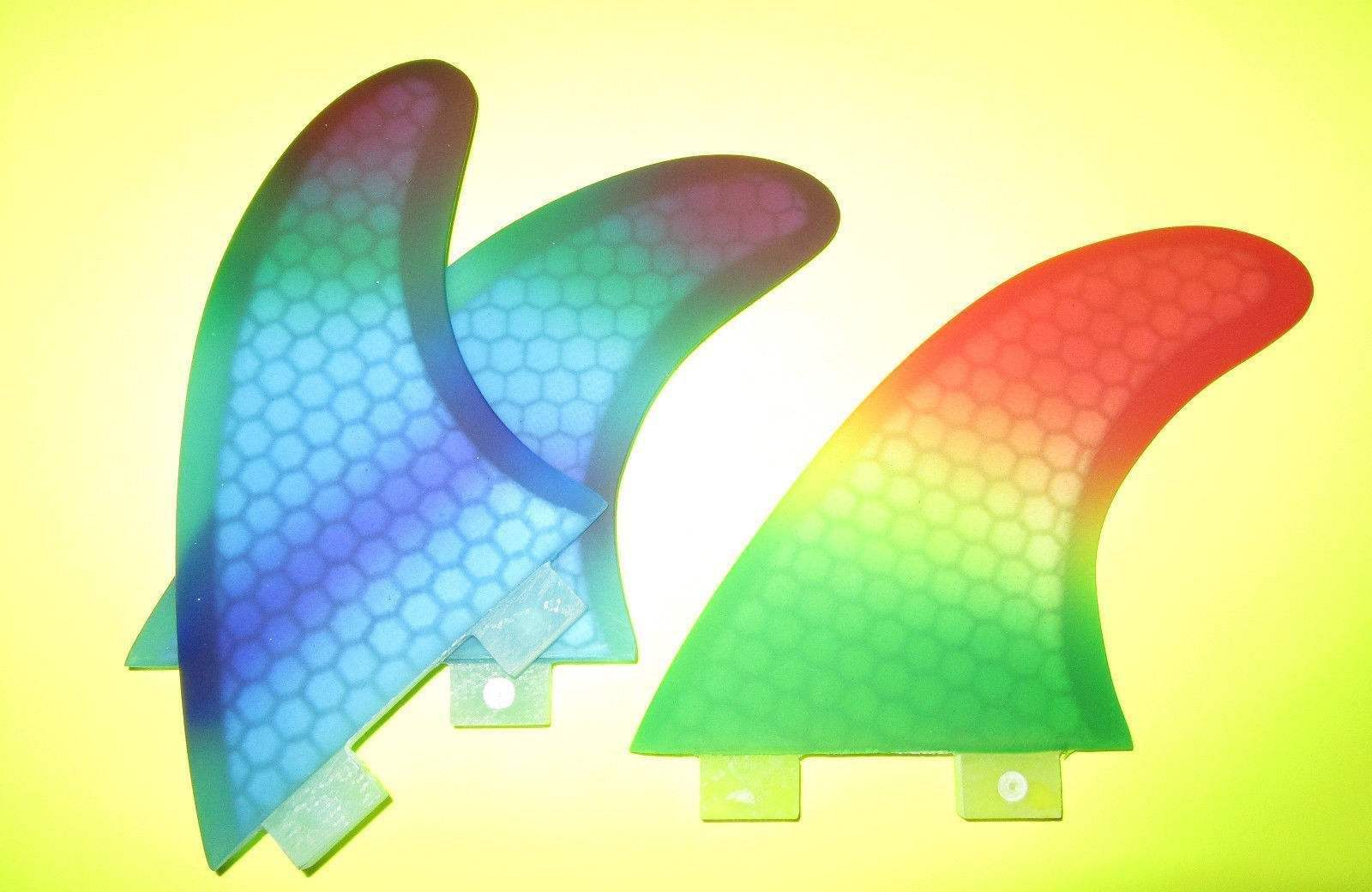 RAINBOW colorD SURFBOARD FINS- BRAND NEW FCS SET OF THREE(3)
