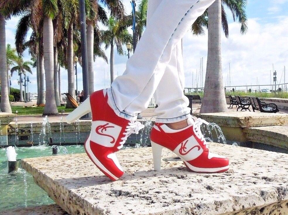 HC High Heel Turnschuhe rot rot rot low top thickheels, Awesome comfort CA-007 064e1a
