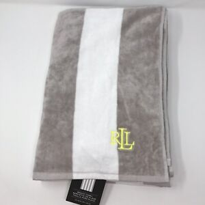 Lauren-Ralph-Lauren-Beach-Towel-Sz-36-x-66-Striped-100-Cotton-Gray-White