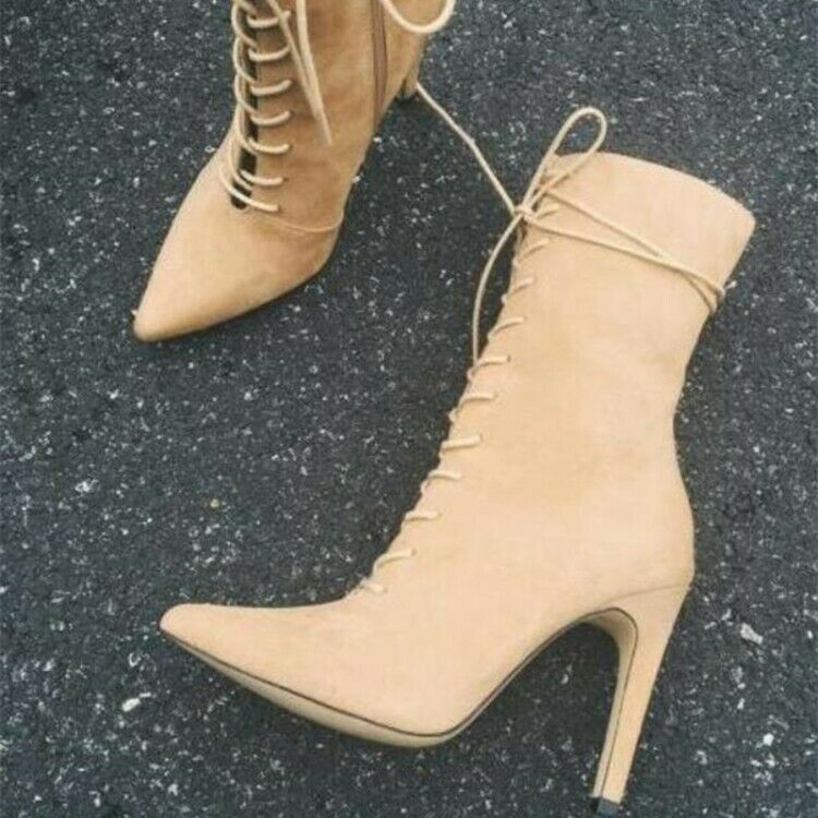 Womens Lace Up Short Boots Pointed Toe Super High Heel Casual Faux Suede Booties