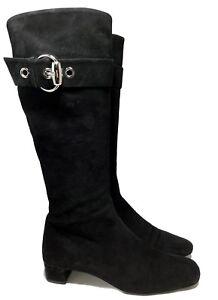 GUCCI-BLACK-SUEDE-SILVER-BUCKLE-BOOTS-8-1250