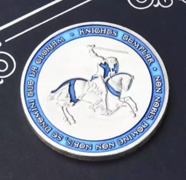 Templer Tempelritter Freimaurer Münze Silber Blau Geschenk Souvenir NEU