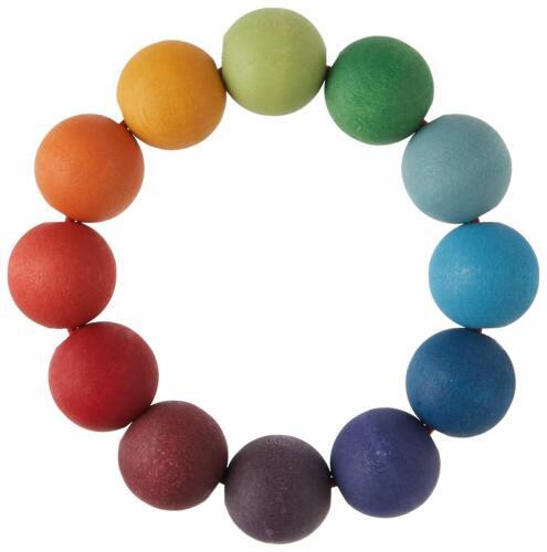 Stapelspiele Grimm's Spiel und Holzdesign 08110 Regenbogen Perlenring für Babys Neu Holzspielzeug