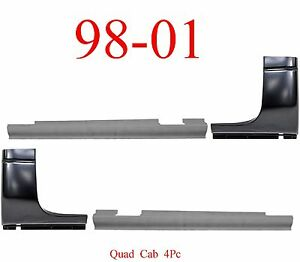 98 01 Dodge 4pc Quad Cab Corner Slip On Rocker Panel Set Truck 4 Door 1500 Ebay