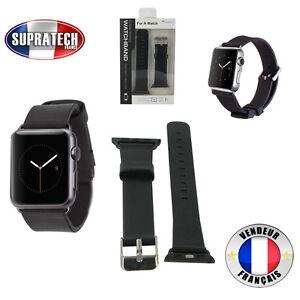 Bracelet-Montre-Cuir-Veritable-Noir-pour-Apple-Watch-42-mm-Serie-1-et-Serie-2