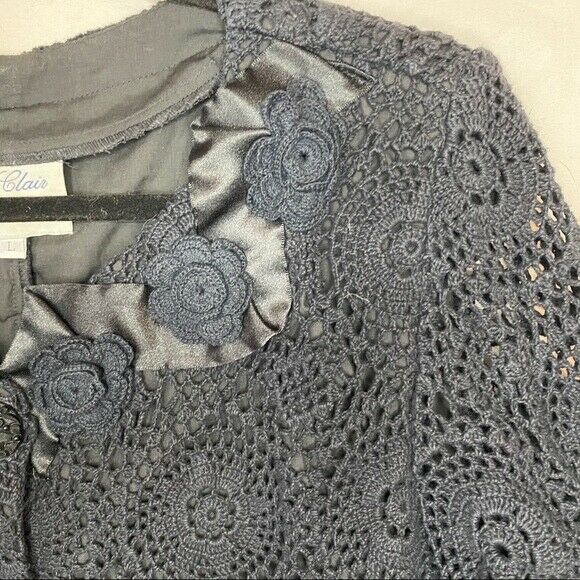 E. Claire Blue Knit Beaded Long Sleeves Button Do… - image 3