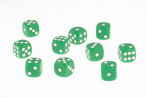 Dice Opaque Set of 10 Green D6 Dice 16mm