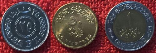 25 50 Piastres /& 1 Pound 1328 1329 2007 2008 BU Egypt SET