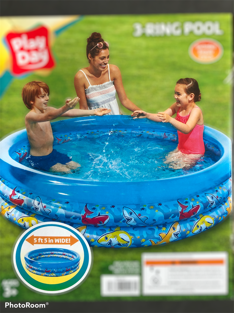 Pool Inflatable Swimming for children Play Day 5.5 Ft Long Round 3 Ring pool NEW