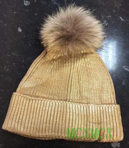 New Winter Gold Sliver Black Metallic Foil Pom Pom Fur Hat Bobble Pom Pom Hat