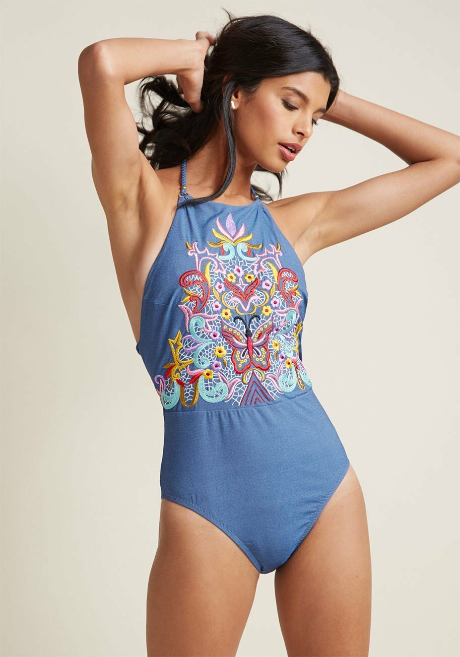 New NANETTE LEPORE Embroidered Boldness Tank One Piece Swimsuit bluee Small