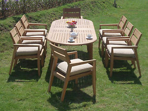 9-PC-OUTDOOR-DINING-TEAK-SET-94-034-DOUBLE-EXTN-OVAL-TABLE-amp-8-STACKING-CHAIRS