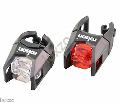 Rolson  LED Head and Tail Lights, Red/White Bike Light Set Cycle Bicycle Lamp