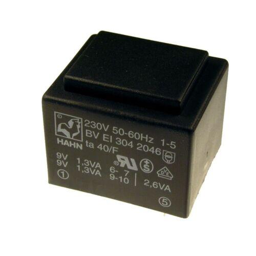 Hahn Print Trafo 230V Printtrafo 2,6VA 2x 9V Netztrafo Transformator 098312