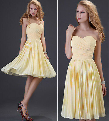 BRIDESMAID Short Wedding Sweetheart Evening Dress Off Shoulder Chiffon Gown