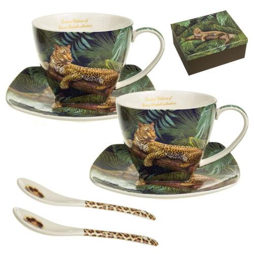 Kaffebecher becher Porzellan Set für zwei Personen Tassen mit Untertassen Löffel