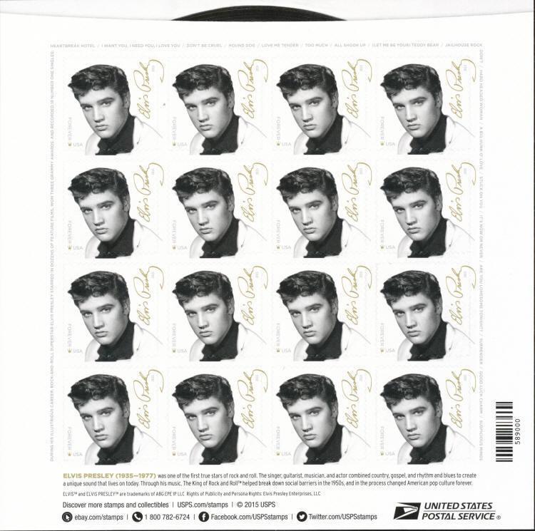 2015 49c Elvis Presley, King of Rock & Roll Scott 5009