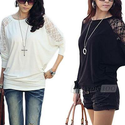 Womens Long Batwing Sleeve Casual Loose Lace T-shirt Tee Shirt Blouse Tops