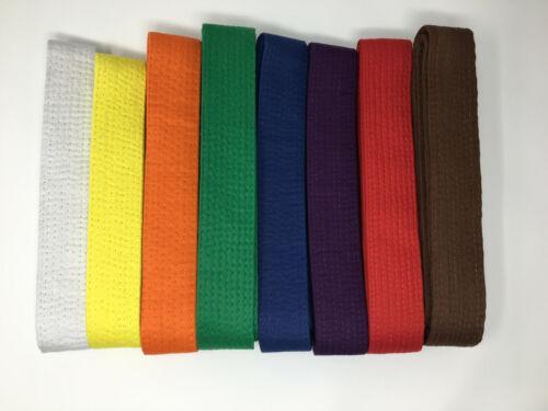 Martial Arts Color Belt Double Wrap Taekwondo Karate Hapkido Judo NEW SIZE 0-8