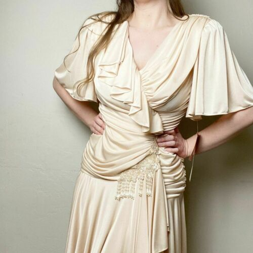 Vintage 80s Drop Waist Ruffle Ruched Beaded Dress