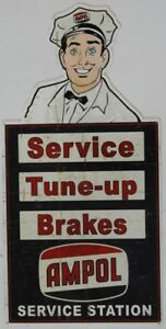 AMPOL-SERVICE-TUNE-UP-BRAKES-560X275-ALL-WEATHER-DIE-CUT-METAL-SIGN-AGED-LOOK