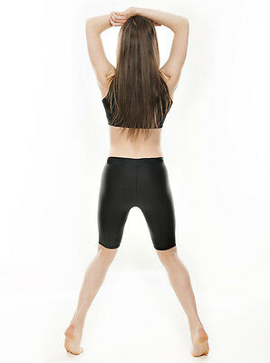 Damen schwarz glänzend Lycra Tanz GYM LAUFSCHUHE Kreis Shorts kdt004