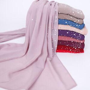Fashion-Women-Ladies-Chiffon-Pearl-Beads-Hijab-Shawl-Scarf-Muslim-Headcover-Hot