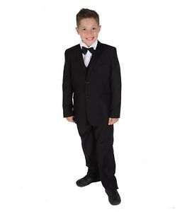 Boys-5-Piece-Black-Tuxedo-Suit-Bow-Tie-Wedding-Page-Boy-Party-Prom-Suit-2-15Year