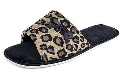 Señoras Chica Polar Open Toe Leopardo Arco Mula Zapatillas Rosa Gris Morado marrón 3-8