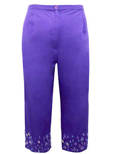 e2b1b24629f Image is loading EVANS-WOMENS-CROPPED-PURPLE-TROUSERS-PLUS-SIZE-20-