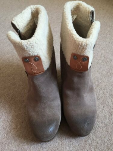 Klein Wedge Once Jeans Boots Sheepskin Size Calvin Worn 6 pwCSqS