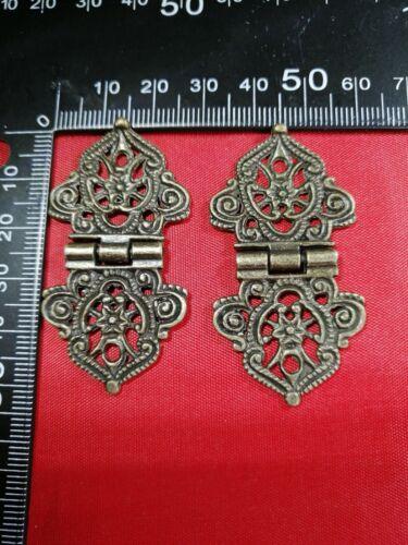 1 par bisagra de encaje de filigrana bronce decorativa pequeña puerta de Bisagra Trasero De madera Cajas