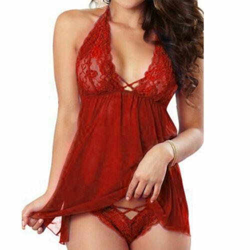 Valentine/'s Day Womens Sexy-Lingerie Deep V Lace Dress Pajamas Sleepwear