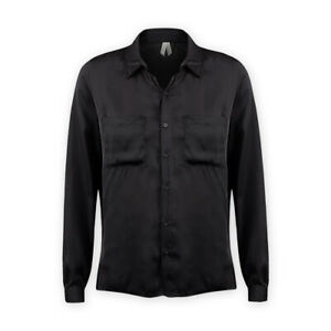 Womens-Ladies-Long-Sleeve-Lightweight-Satin-Black-Button-Down-Collared-Shirt-Top