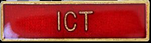 ICT School Subject Bar Pin Badge in Red Enamel