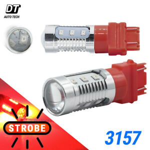 3157 4057 Red LED Strobe Flash Safety Bright Brake Tail Stop Light Bulb For Ford