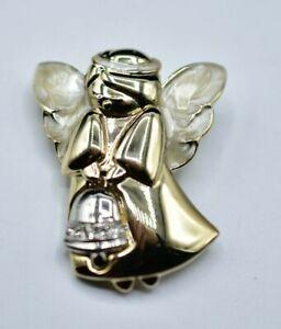 Vintage Gold Tone /& Crystal Angel Brooch