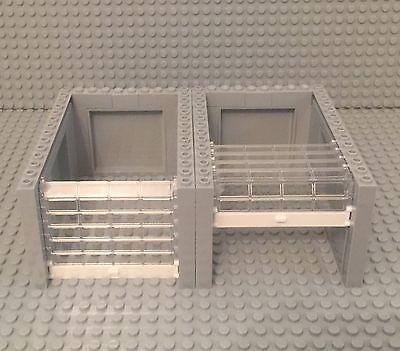 white W// Handle /& Trans-blue Rollers Lego New garage doors X2 w// panels Walls