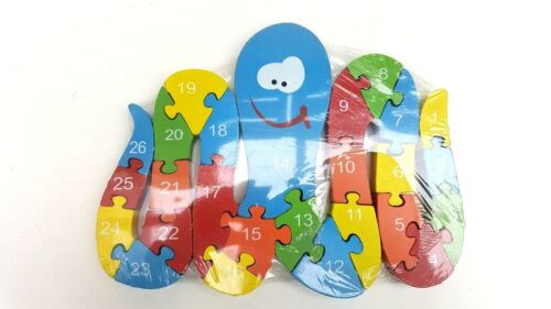 Wooden octopus jigsaw//puzzle with numbers /& letters,colorful educational toy