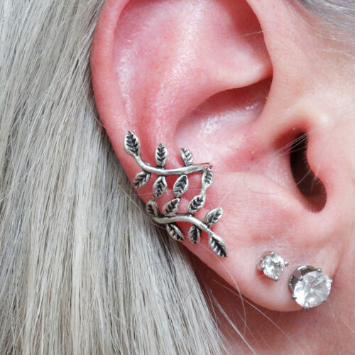 925 Sterling Silver Mirrored Leaves Gift New Wrapped Vine Ear Cuff Earrings