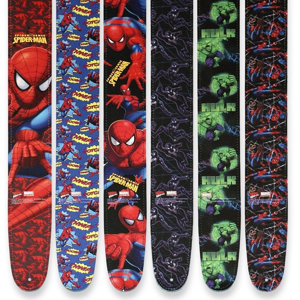 ░▒▓█ Marvel Spider-Man Hulk Gitarrengurte █▓▒░ Echtleder Design Motiv Farbig