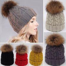 Women Large 15cm Ball Warm Wool Knit Raccoon Fur Pom Beanie Bobble Ski Hat Cap