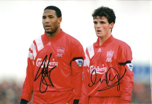 Mike Marsh & John Barnes signed Liverpool 12x8 COA