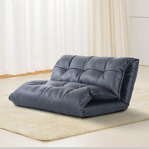 Pu leather chaise lounge sofa bed floor soft sleeper black for Buy floor sofa