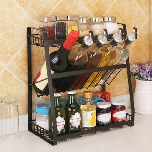 New-3-Tier-Storage-Organizer-Spice-Jars-Bottle-Iron-Shelf-Holder-Rack-Kitchen-US