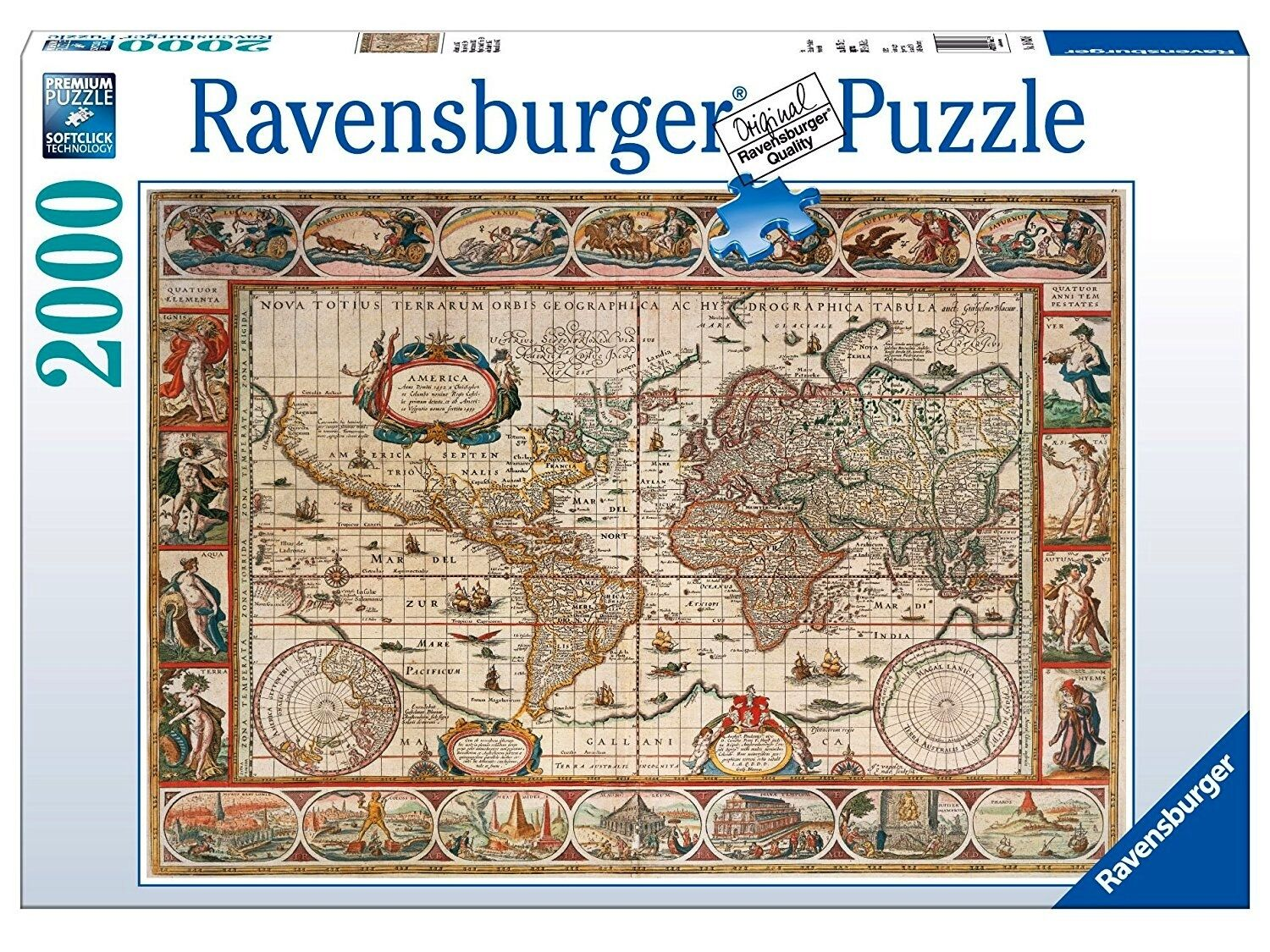 RAVENSBURGER 16633 Puzzle 2000 PIECES MAP OF THE WORLD YEAR 1650   Old Worldmap