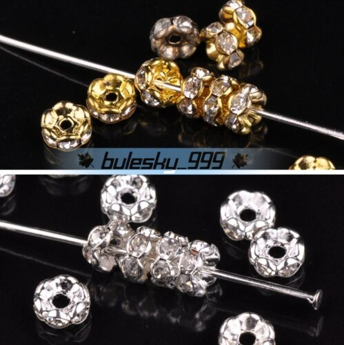 50~200pcs 5mm Rondelle Glass Rhinestones Gold Silver Black Loose Spacer Beads